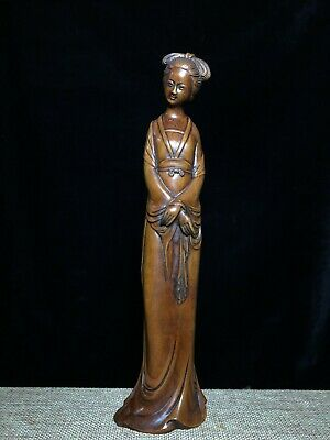 Collectable China Old Boxwood Hand-Carved Noble Belle Beautiful Decorate Statue