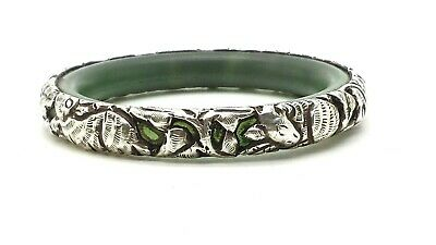 Chinese Export Repousse Jade Sterling Silver 925 Bracelet 42g 7'' BAl086