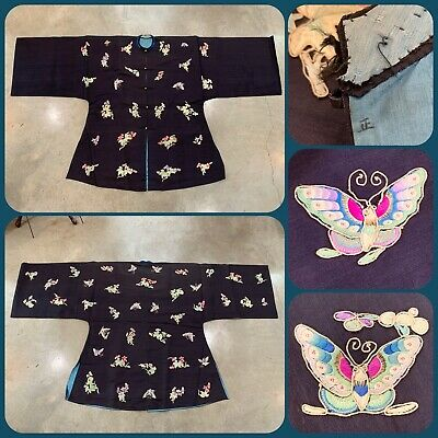 Antique 19th Century QING DYNASTY Chinese Silk Embroidered ROBE Floral BUTTERFLY