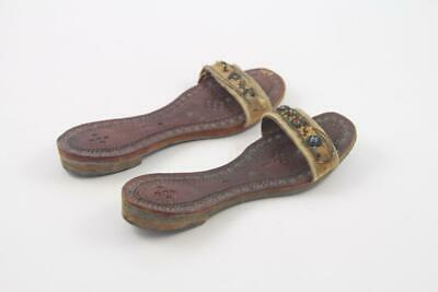 Antique Child's Indian Middle Eastern Hand Tooled Leather & Beaded Shoes Sandals