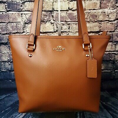 Coach Crossgrain Brown Gold Leather Saddle Top Zip Tote Hand Bag #36632
