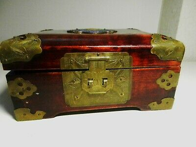Chinese Cherry Wood Jewelry Box Cloisonne Enamel Medallion Etched Brass Corners