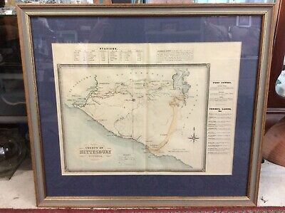 Antique Framed Original 1874 Map Of 'County Of Heytesbury' Colony Of Victoria