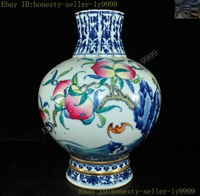 China Wucai Porcelain Glaze Longevity Peach bird bat Zun Bottle Pot Vase Jar
