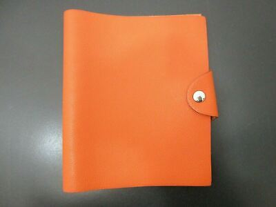 Authentic HERMES Yuris MM Day Planner Leather Brown Good 83257