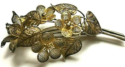 Fine Filigree Antique Chinese Qing Dynasty Gilt Silver Flower Bouquet Brooch