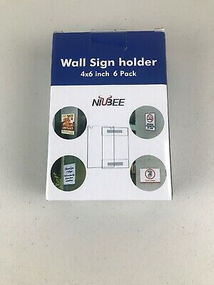 Niubee Acrylic wall sign holder 4x6 inch 6pack  with Tape Adhesive for Office
