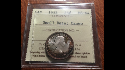 ICCS Graded MS-64 Cameo 1953 Small Date Canada Silver Twenty-Five Cents - see!