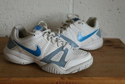 Ladies White Blue Swoosh Nike City Court Trainers Size 4 / 36.5 Used Condition