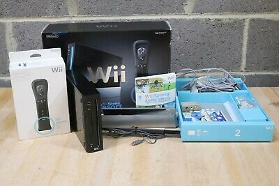 Nintendo Wii Black Console Bundle With Wii Motion Plus Controllers Boxed - 250