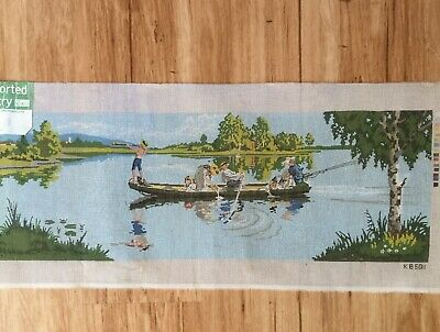Semco Tapestry Canvas - Boating / fishing on the river  - to be stitched