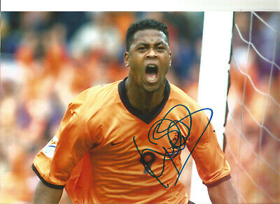 Patrick Kluivert  Holland Signed 12 x 8 inch authentic football photo SS1200G