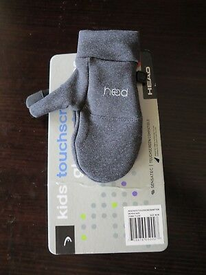 HEAD Kids Touchscreen Mittens DARK HEATHER GRAY Size Medium (Ages 6-10) - NEW