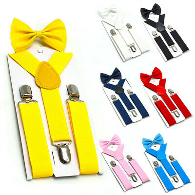 Children Boys Elastic Bow Tie Suspenders Wedding Party Clip On Trousers Braces