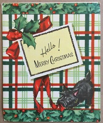 Vintage Greeting Card Hello Merry Christmas Scottish Terrier Trinity House Cards