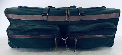 ORVIS BATTENKILL 36x15x15 Large Green Canvas Rolling Duffle Bag Luggage Leather