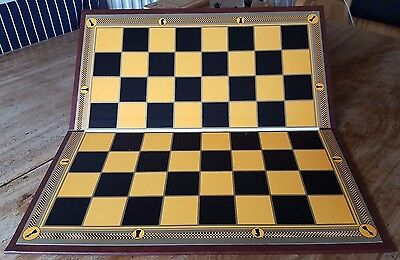"Substantial ""Club Weight"" Folding Chess Board, Antique Design with 2"" squares"
