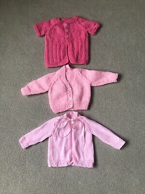 BRAND NEW HAND KNITTED NEWBORN BABY GIRLS PINK CARDIGAN x3