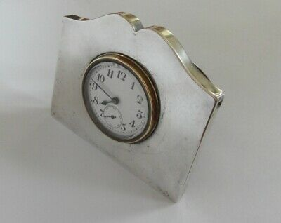 Quality Antique Silver & Polished Oak Easel Clock - White Dial - Birmingham 1922