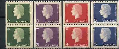 1962-63 Mint NH Pairs Canada 2c-5c(4) F-VF,+, Scott #406-409 Cameo Coil Stamps
