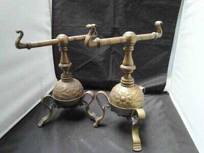 antique arts & crafts pair of brass fire dogs