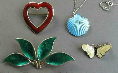 Andersen Holmsen Olsen Thune  Enamel sterling silver Brooches+Necklace  Norway