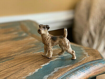 Antique Hubley Painted Cast Iron Fox Terrier Dog Figurine Paperweight Vintage