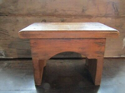 Antique Step Prayer Milking Farmhouse Country Pine Wooden Stool Victorian Era