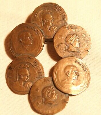 arts and crafts bronze pin cicero hector coins rare