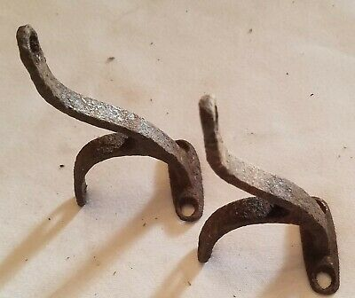 "Antique Primitive Rustic Farmhouse 4"" Cast Iron Hooks Set Of (2)"