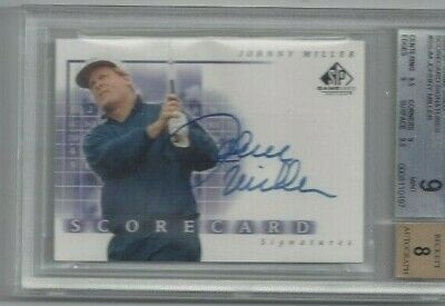 JOHNNY MILLER   HAND SIGNED   2002 SP Game Used Scorecard Signatures   BGS 9