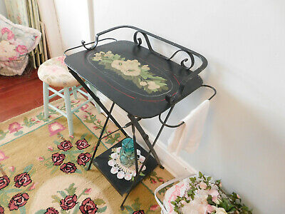 Vintage Antique Black Metal Folding Wash Basin Table Scrolled Accent Tray HEAVY