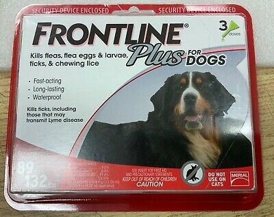 New Frontline Plus for Dogs 89-132 lbs 3 Month Supply 3-Pack Doses Big Dog