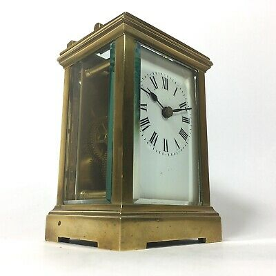 Impressive FRENCH Antique Solid Brass Carriage Clock ACC Circa 1890 & Key