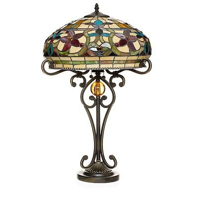 """Tiffany Style Handcrafted Floral Table Lamp 16"""" Shade"""