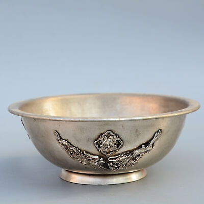 Collectable China Old Miao Silver Hand-Carved Myth Dragon Moral Bring Luck Bowl