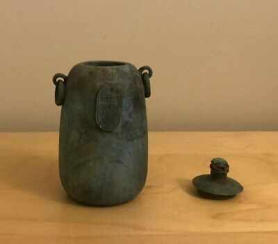 Egyptian Hard Stone Cosmetic Vessel With Scarab