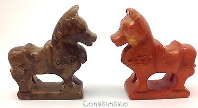 Two Beautiful And Cute Brown And Orange Old Hand-Carved Jade Chinese Horses