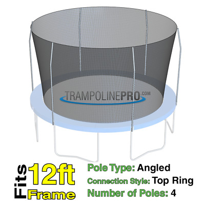 12' Round Replacement Safety Net for 4 angled Pole Systems with TopRing NET ONLY