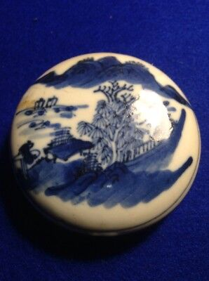 Large Chinese Antique B/W Porcelain Paste Box