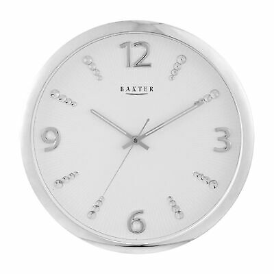 NEW 40cm Round Silver Wall Clock - Baxter,Clocks