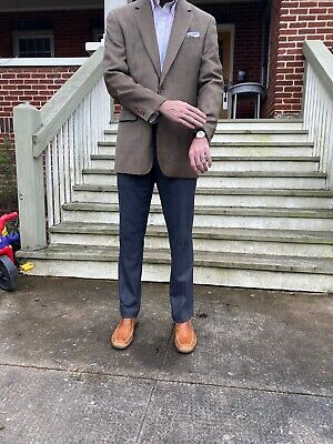 Ralph Lauren Wool And Silk Mens Blazer 40L Brown And Black With Elbow Patches