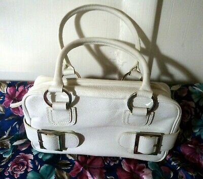 CASUAL CORNER Antique-White Leather Small Clutch Style Purse, Buckle Accents WOW