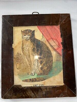 Antique Early Primitive 19th Century Rare Folk Art Hand Colored Block Print