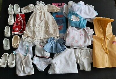 Lot Vintage Doll Clothes Shoes Cabbage Patch CitiToy Bride Dress Diapers Barbie