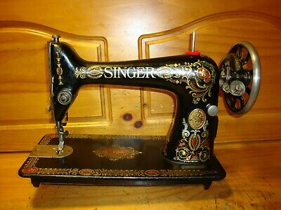 """Antique Singer Sewing Machine Head Model 66 """"Red Eye"""", Serviced"""