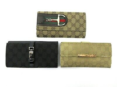 Authentic 3 Item Set GUCCI GG Canvas Long Wallet Leather 82774