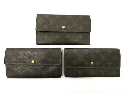 Authentic 3 Item Set LOUIS VUITTON Monogram Long Wallet PVC Leather 82883