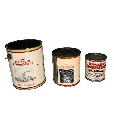 Set of Three Rogers Syrup Vancouver Lithograph Antique Advertising Tin Cans!