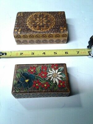 (2) Vintage Large/Small Hand Carved Wooden Trinket Box, Boxes Design Poland